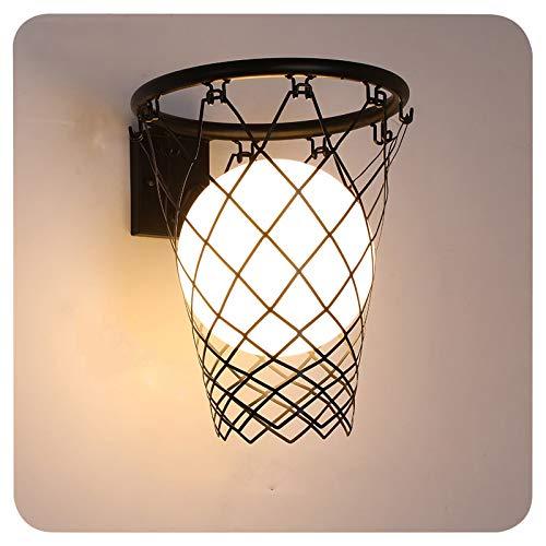XIAOKUKU Aplique lámpara Pared, Creatividad Baloncesto Lámpara Pared LED Moderno Tipo de cableado Simple Lámpara Pared Hierro Forjado Vidrio E27 Dormitorio, Iluminación de Sala Estar Decoración,Negro