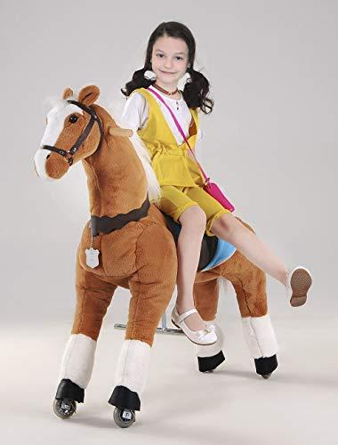 UFREE Cheval cadeau idéal pour les enfants, jouet Action Poney, monter sur grand 110 cm pour les enfants de 6 ans à l'âge adulte. (Crinière et queue blanches)