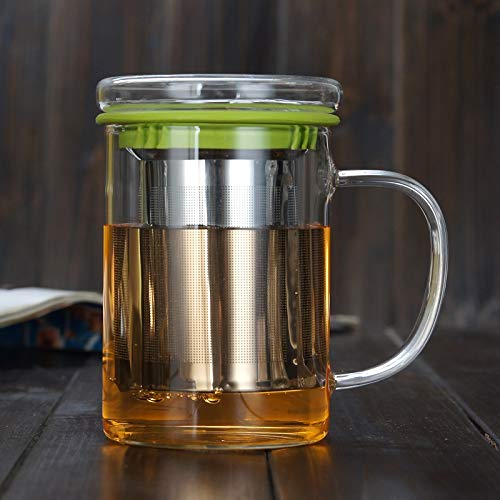 Cosmouk Vidrio de 400 ml con leche muy adecuada, taza de café, cola, latte, taza de capuchino, taza de té de leche, taza, taza de té de flor, taza de té, taza de desayuno, taza de jugo o bebida calien