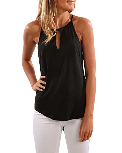 CNFIO Seksowna koszulka damska, top na lato, bez rękawów, krój crop Basic, z pętelkami, T-shirt, bluzki, na co dzień