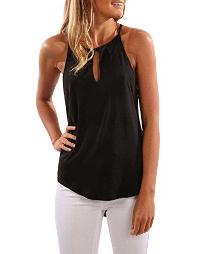 CNFIO Camisetas Tirantes Mujer Blusa Top Sin Mangas Cami Tank Tops De Casual para Mujer Negro-1 EU36-38