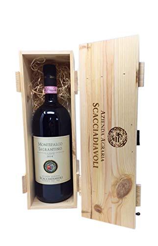 Scatola in legno con vino rosso sagrantino di montefalco DOC