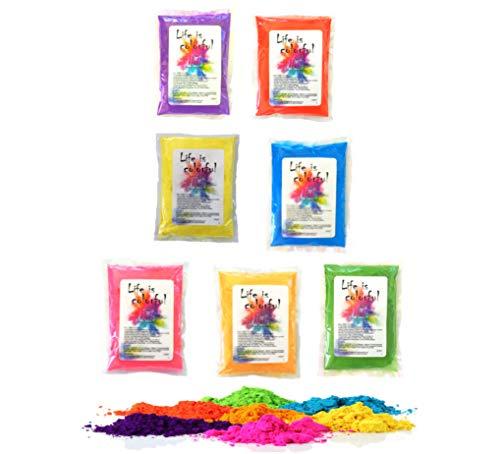 7 x h2i Holi Color Powder 7 leuchtende Farben x 100g - 700g für Party Foto Fun & Action