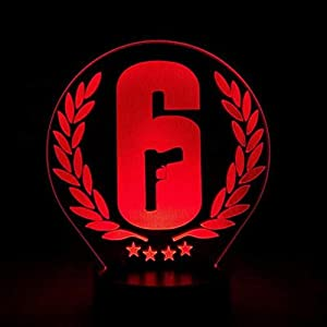 LLWWRR1 Rainbow Six Siege Night Light Led Touch Sensor 7 Color Changing Child Kids Gift Fps Game Table Lamp Rainbow 6 Logo Bedroom Decor