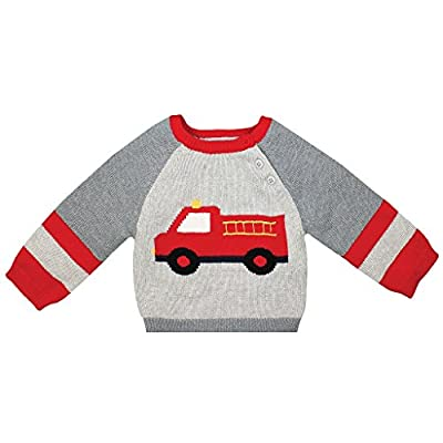 Zubels Baby Boys' Hand-Knit Cotton Fire Truck Sweater, All-Natural, 9 Months, Gray