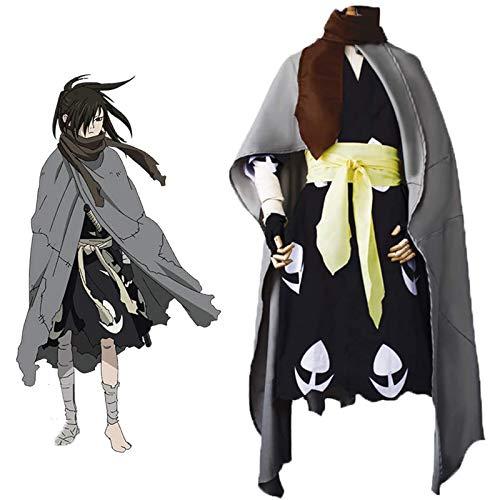 EDMKO Japan Anime Dororo Cosplay Disfraz Hyakkimaru Kimono Halloween Hombres Capa Traje Conjunto Completo Ropa,L