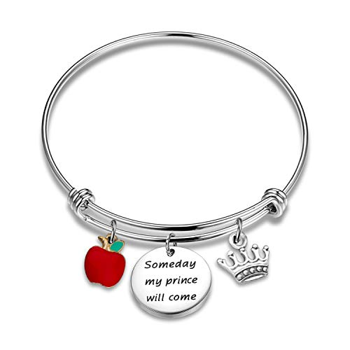 KUIYAI Someday My Prince Will Come Bracelet with Red Apple Charm Snow White Movie Quote Jewelry