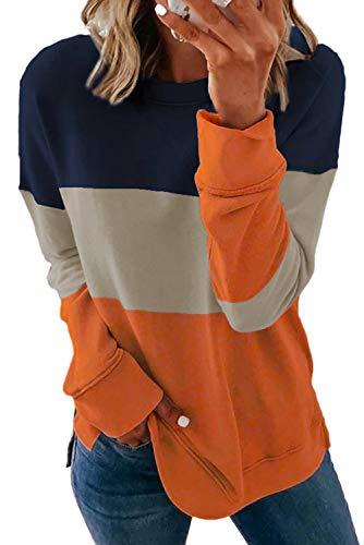 GOLDPKF Sudadera con capucha para mujer, diseño de rayas, H-naranja, M