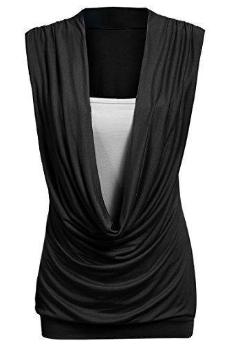 CRAVOG Sexy damen Bluse ärmellos T-Shirt elegant Tief V-Neck