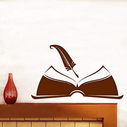 Tianpengyuanshuai Muurtattoo stift met open boek om te schrijven een boekhandel bibliotheek, waarin u leert om vinyl raamstickers te versieren
