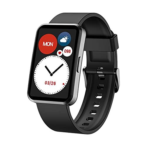 IOWODO Smartwatch,Reloj Inteligente Hombre Mujer con Oxígeno de Sangre(SpO2) Sueño Pulsómetro Podómetro,Recordatorio el Tiempo,IP68,24 Modos Deporte, Pulsera Actividad Inteligente Para Android e IOS
