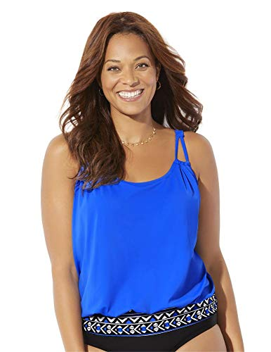 SWIMSUITSFORALL Swimsuits for All Women's Plus Size Loop Strap Blouson Tankini Top 24 Royal Blue