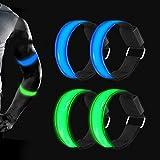 Surglam - Braccialetto luminoso a LED, 4 pezzi, riflettori per bambini, per corsa, jogging, passeggiate con cani, corsa, sport all'aria aperta