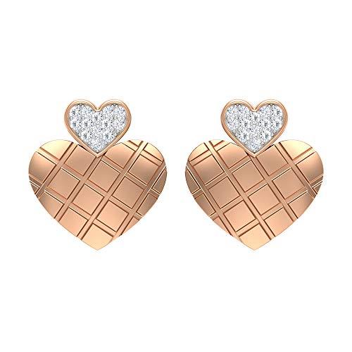 Aretes de diamante con forma de corazón (calidad AAA), con rosca trasera, Metal, Diamond,