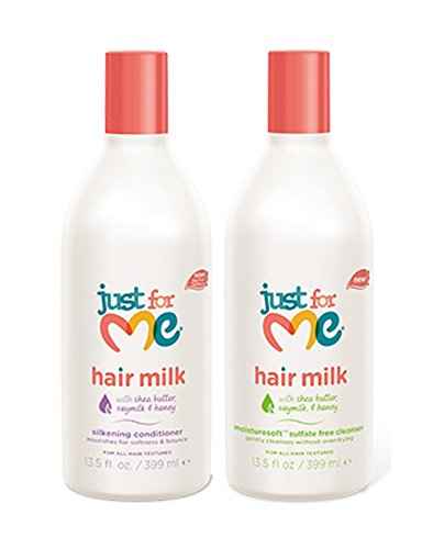 Price comparison product image Just for Me Hair Milk Set Silkening Conditioner,  13.5 Oz + MoistureSoft Sulfate Free Cleanser,  13.5 Oz with Shea Butter,  Soymilk,  & Honey 2-Pack
