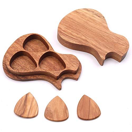 3 Pcs Wooden Guitar Picks with Case Wood Picks,Acacia Acoustic Guitar Pick Box Set Storage Picks Paddles Personalized Bass Picks
