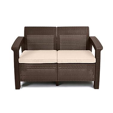 Keter Corfu Love Seat All Weather Outdoor Patio Garden Furniture w/Cushions, Brown