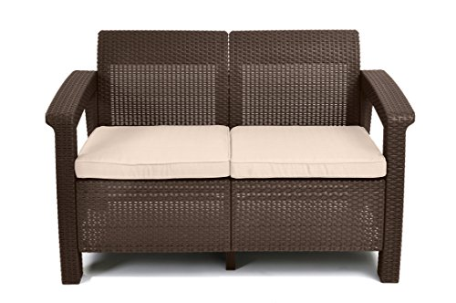 Keter Corfu Resin Wicker Loveseat with Outdoor Cushions – Patio Furniture Perfect for Front Porch Décor and Poolside Seating, Brown