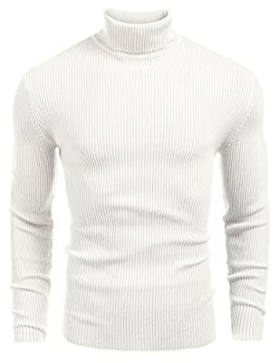 COOFANDY Mens Ribbed Slim Fit Knitted Pullover Turtleneck Sweater White from