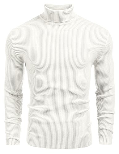 JINIDU Mens Casual Basic Ribbed Slim Fit Knitted Pullover Turtleneck Thermal Sweater (S, White)