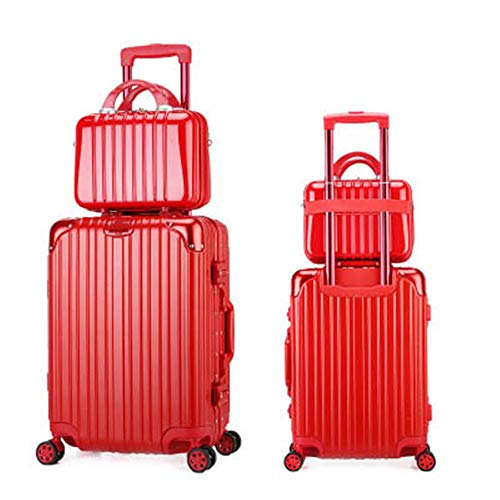 Guolipin Suitcases 2 Pack Trolley Case Cosmetic Case Combination Set Neutral Travel Luggage 14 Inch Cosmetic Case For Travel (Color : Red, Size : 24inch)