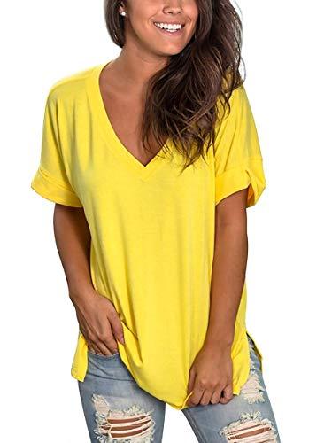 Camisa Mujer Manga Corta Elegante Camisetas Cuello V Verano Amarillo L