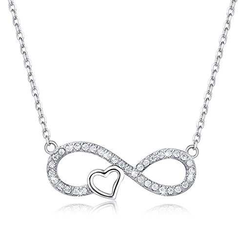 "925 Sterling Silver Necklace – Billie Bijoux ""Forever Love"" Infinity Heart Pendant White Gold Plated Diamond Women Necklace 21"""