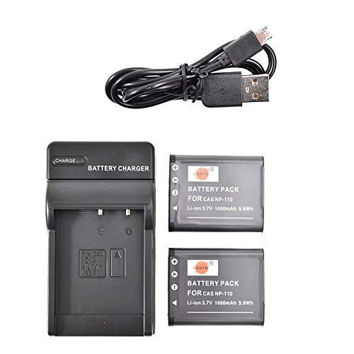 DSTE - Batería de ion de litio NP-110 (2 unidades) y cargador micro USB compatible con Casio Exilim EX-Z3000 EX-Z3000BN EX-Z3000PK EX-Z3000RD EX-Z3000SR EX-ZR20WH Exilim Zoom EX-Z2000PK EX-Z200VT)