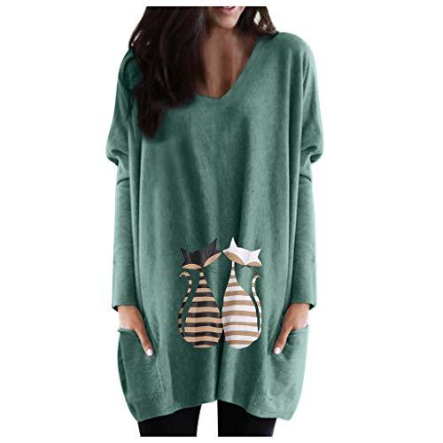 Lazzboy Langarmshirt Frauen Plus Size V-Ausschnitt Print Pocket Bluse Langarm Patchwork Tops Damen Sweatshirt Farbblock Rundhals Pulli Top Pullover Oberteile(Grün,2XL)