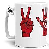 Tassendruck Flaggen-Tasse mit Handzeichen von Tunesien - Fussball-Tasse - Fahne/Länderfarbe/WM/Weltneisterschaft/EM/Europameisterschaft/Cup/Tor/Qualität Made in Germany
