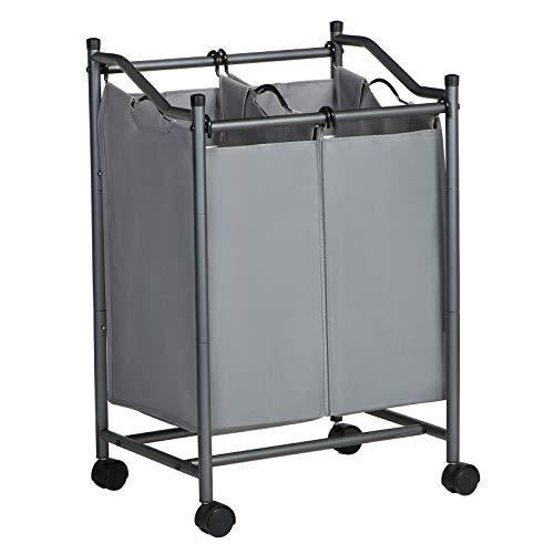 Songmics LSF002GS Wasmand met wieltjes en 2 vakken, wasmand, wasverzamelaar, waswagen met afneembare zakken, totale capaciteit 90 l, grijs
