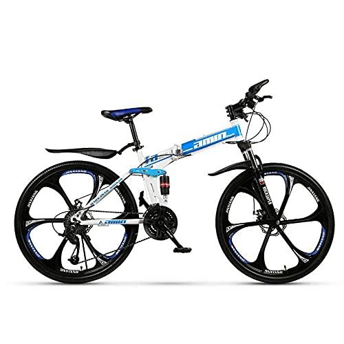Bicicleta De Montaña, Velocidad Variable Doble Amortiguador, Bicicleta De Bicicleta De Montaña Redonda Integrada-(Top De Rueda De Seis Cuchillos) Azul Blanco_30 Velocidad (Por Defecto De 26 Pulgadas),