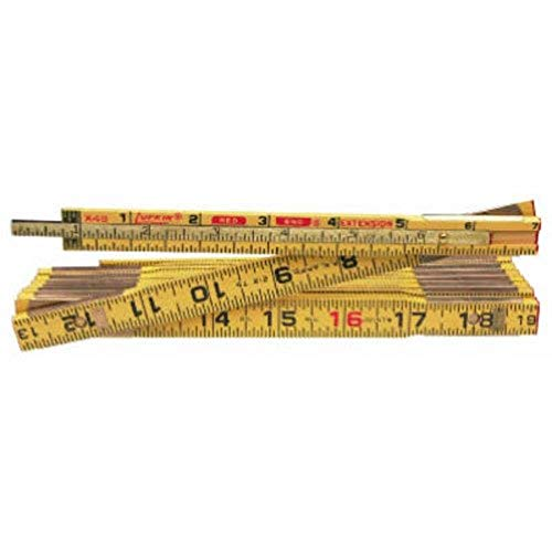 "Crescent Lufkin 5/8"" x 8' Red End Wood Rule with 6"" Slide Rule Extension - X48N"