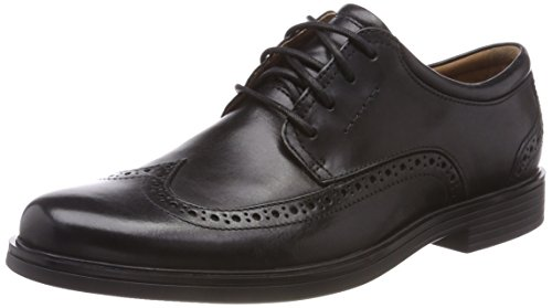 Clarks Herren Un Aldric Wing Derbys, Schwarz (Black Leather), 44 EU