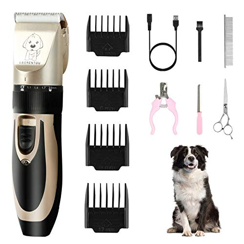 Dog Grooming Clippers Low Noise Rechargeable Cordless Pet Grooming Kit for Large & Small Dogs Cats Pets