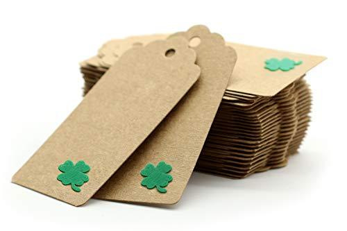 3DP A Rilievo Quadrifoglio - Etichette Carta Kraft DIY E Spago In Juta - 40 Pezzi – Biglietto Portafortuna, Auguri, Naturale, Green. Etichette Scrapbooking Tags Carta Kraft