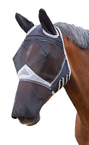 Shires - Maschera per cavalli, in rete fine, contro le mosche, con fori per le orecchie e il naso, colore: nero, Black