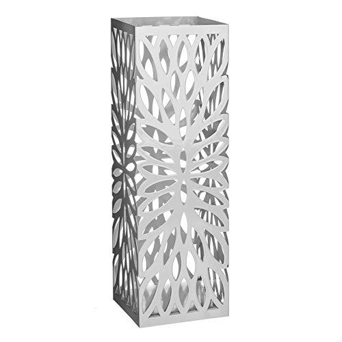 CT Porta Ombrelli in Metallo, Portaombrelli Quadrato, con Gancetti e Vaschetta Scolapioggia Rimovibile (Bianco)