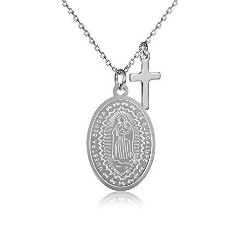 Kim Johanson Edelstahl Damen Halskette *Maria* in Silber & Gold   Madonna Kette mit Kreuz   Boho Schmuck   verstellbare Kette inkl. Schmuckbeutel (Silber)