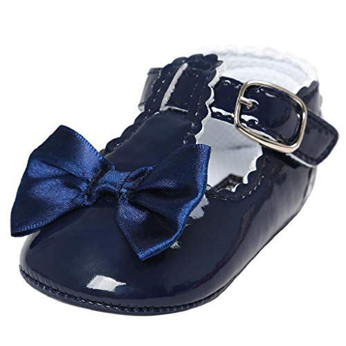 Zapatos Bebé Niña 2019 SHOBDW Zapatos De Princesa Dulce Pisos Zapatos Cuna Suela Suave Antideslizante Zapatillas Zapatos Lindos del Bowknot Primeros Pasos Zapatos Bebé Recién Nacida(Armada,0~6)