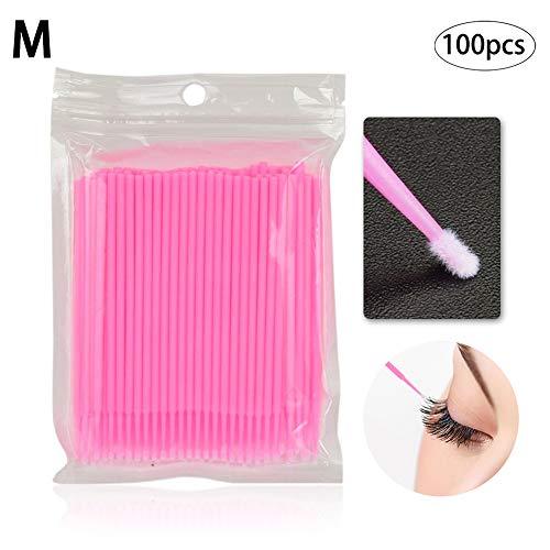 100PCS / SET jetable Microbrush Applicateurs Cils Extensions brosse individuelle Cils Retrait Swab Mascara Applicateur maquillage beauté Outils de 2 mm (rose)
