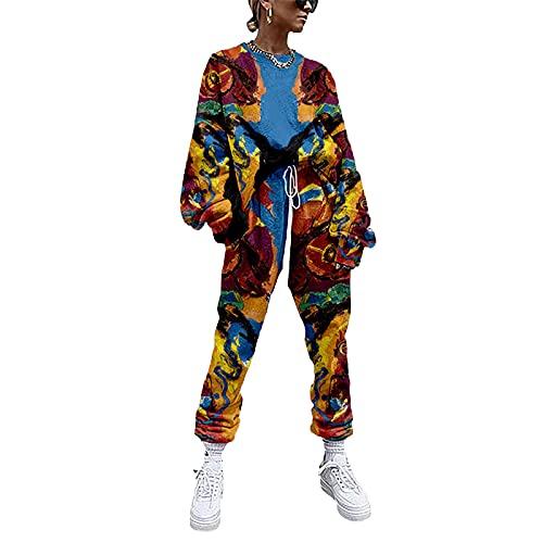 YZJYB Mujer Casual Hipster Conjunto De Ropa Chandal Sudadera Tops Y Pantalones Deportivos Señoras 2 Piezas Set Disfraz XXS-4XL,Multi Colored,XXS