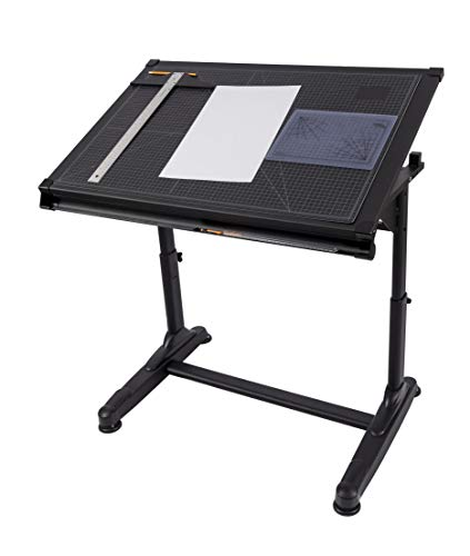 Stand Up Desk Store Height Adjustable Drawing and Drafting Table with 39.2' W x 27.5' D Surface, Black