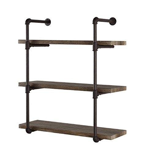 Étagères flottantes de Mur de Fer et de Bois en métal pour/étagère de Cube accrochant de Mur de LOFT pour la Chambre comme Support de Stockage d'étagère / 3 rangées (100 * 20 * 80cm)