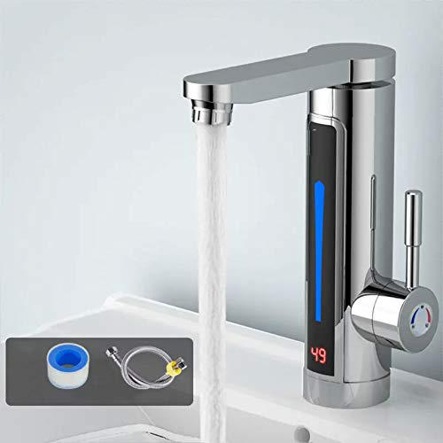 XBSJB Elektrischer Warmwasserbereiter Wasserhahn 3300 W LED Elektrisch Durchlauferhitzer Wasserhahn Schnelle Heizung Küche Badezimmer Schnelles Wasser Lieferung Innerhalb Von 5-7 Tagen,Silber