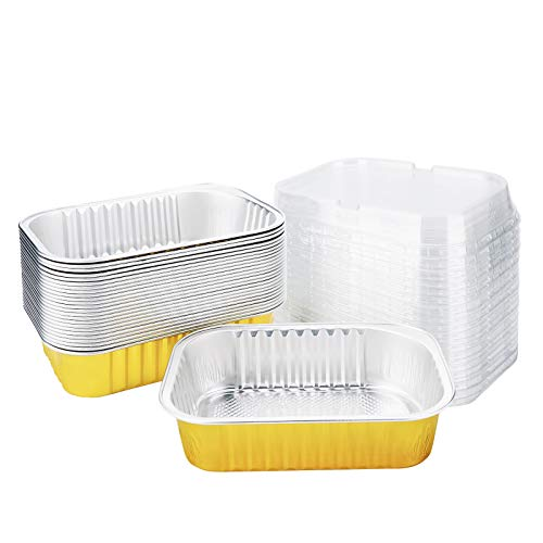 Mini Loaf Pans with Lid, Beasea 25 Pack 5x3 Inch Disposable Loaf Pan Aluminum Foil Bread Pans Bread Loaf Pans Mini Loaf Baking Pans Loaf Bakeware for Baking