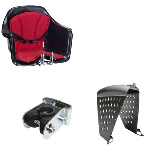 Seggiolino Anteriore Bici Attacco Manubrio Nero/Rosso + Protezione HTP MILU'