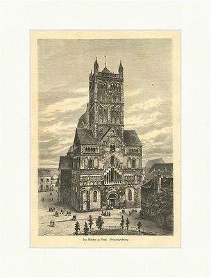 Das Münster in Neuß Quirinus Basilica Minor Holzstich Deutsches Reich E 2206
