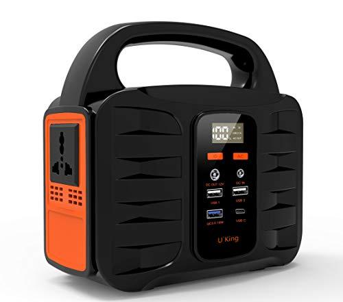 UKing Draagbare generator, 155 Wh/42000 mAh draagbare krachtvoorziening, CPAP noodstroom met DC/AC-omvormer en LED-verlichting/SOS/strobe, opladen via zonnepaneel/stopcontact/auto met USB