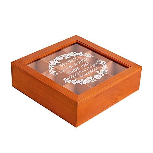 Teebox Holz Natur, Aufbewahrungsbox Aus Holz Vintage Schmuckschatulle Staubdicht Kosmetik-Display Fall Veranstalter Teebox Klein (9 Gitter,Braun)